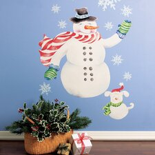Snowman Vinyl Holiday Wall Decal (Set of 2)