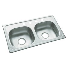 "Southhaven 33"" x 19"" Self Rimming Double Bowl Kitchen Sink"