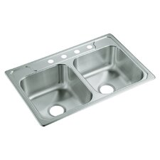 "Middleton 33"" x 22"" Self Rimming Double Bowl Kitchen Sink"