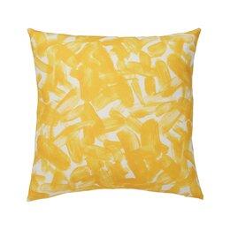 Brushstroke Citrine Cotton Throw Pillow
