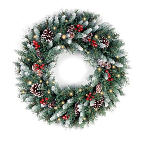 Frosted Berry Pre-Lit Wreath White-tipped Branches