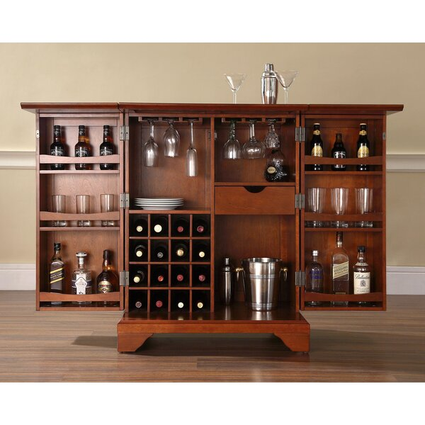 Wine Bar Cabinet Storage Liquor Home Rack Furniture Counter Bottle Cherry Wood Ebay