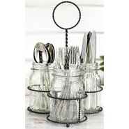 Del Sol 4 Pieces Mason Jar Set with Flatware Caddy
