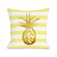 Tropical Stripes Pineapple Throw Pillow