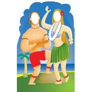 Life-Size Stand-Ins Hawaiian Couple Cardboard Stand-Up