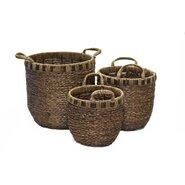3 Piece Braided Seagrass Basket Set
