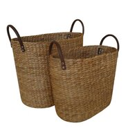 Water Hyacinth 2 Piece Basket Set with Faux Leather Handles