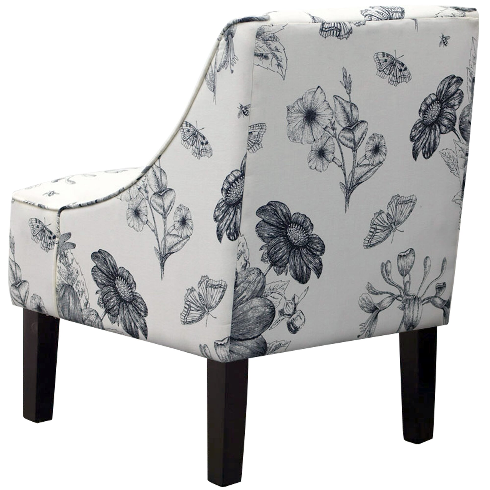 Lark Manor Anas Swoop Arm Chair In Black Amp White Floral