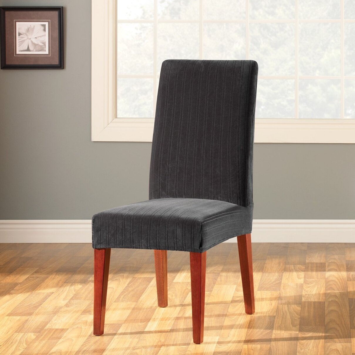 Stretch Dining Chair Covers sure fit stretch pique short dining ...