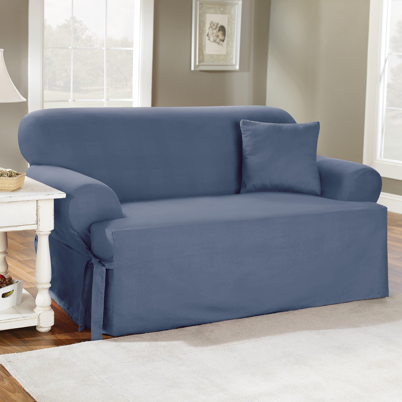 Sure Fit Cotton Duck Sofa Slipcover T Cushion Amp Reviews