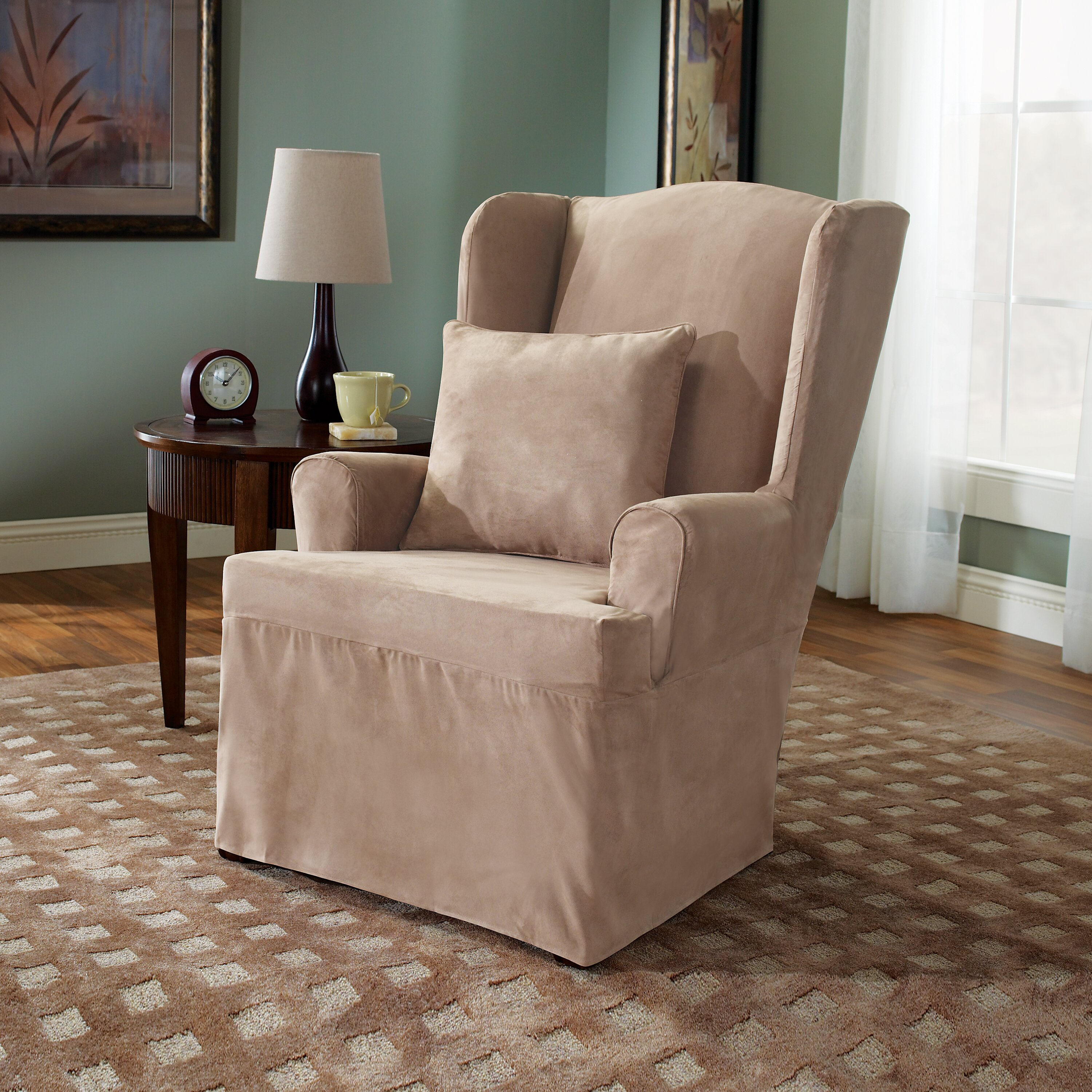 Sure Fit Soft Suede Wing Chair Slipcover & Reviews