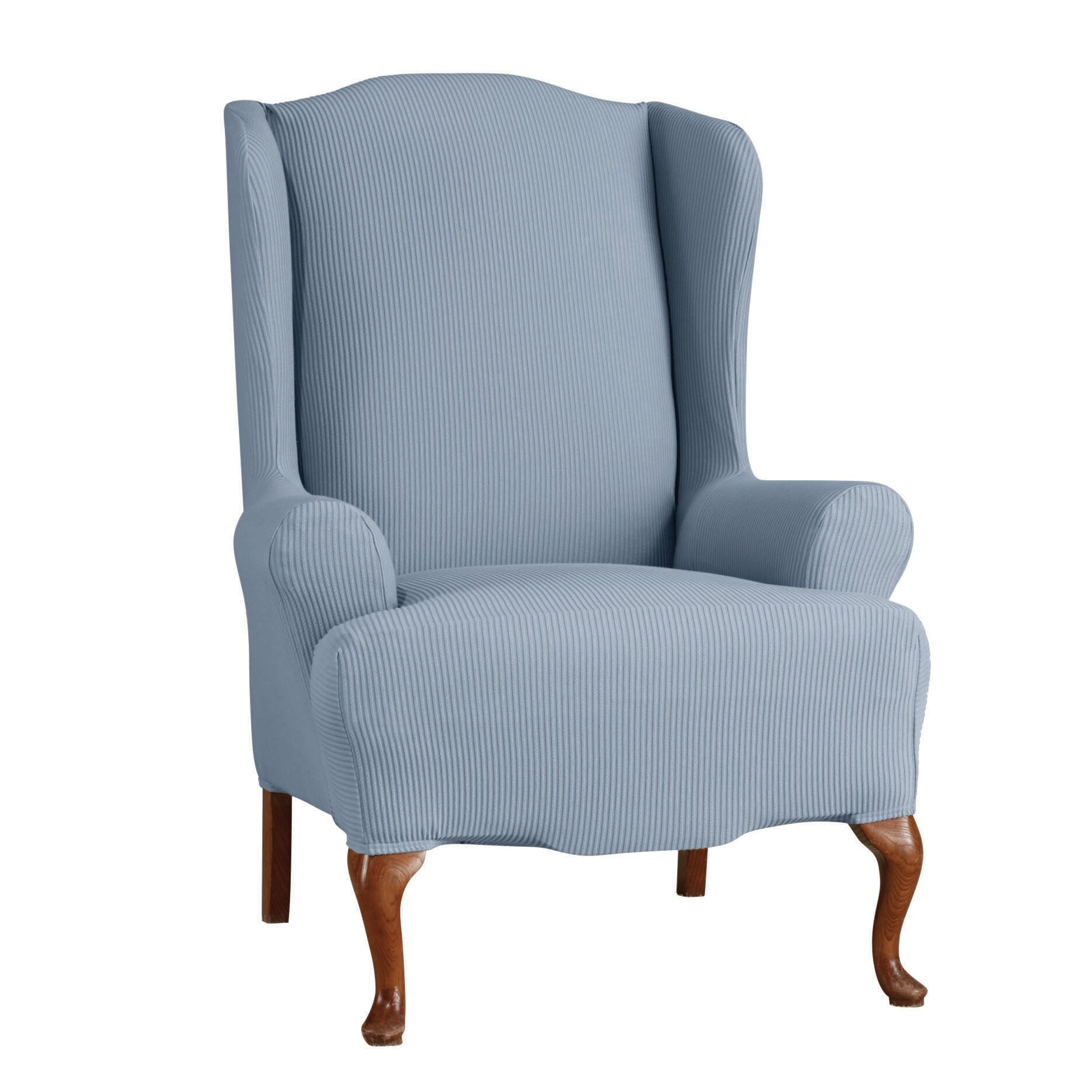 Sure Fit Stretch Seersucker Wing Chair T Cushion Slipcover