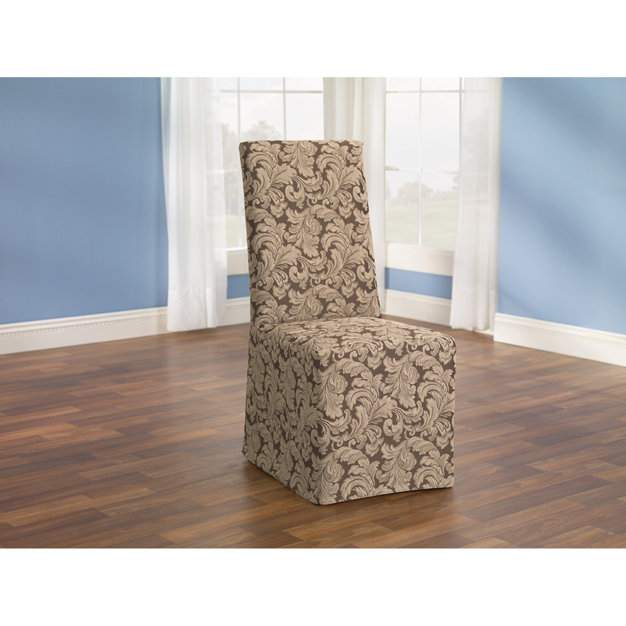 Sure Fit Scroll Classic Dining Chair Skirted Slipcover