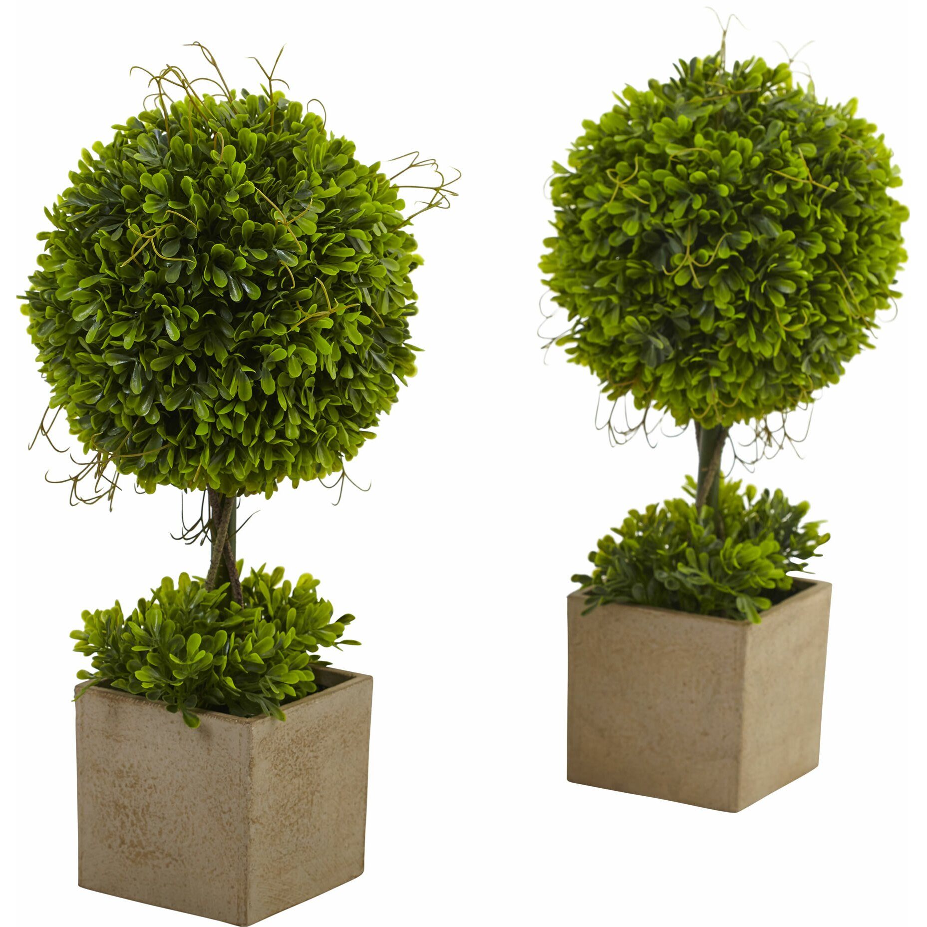 Nearly Natural Boxwood Round Topiary in Planter & Reviews ...
