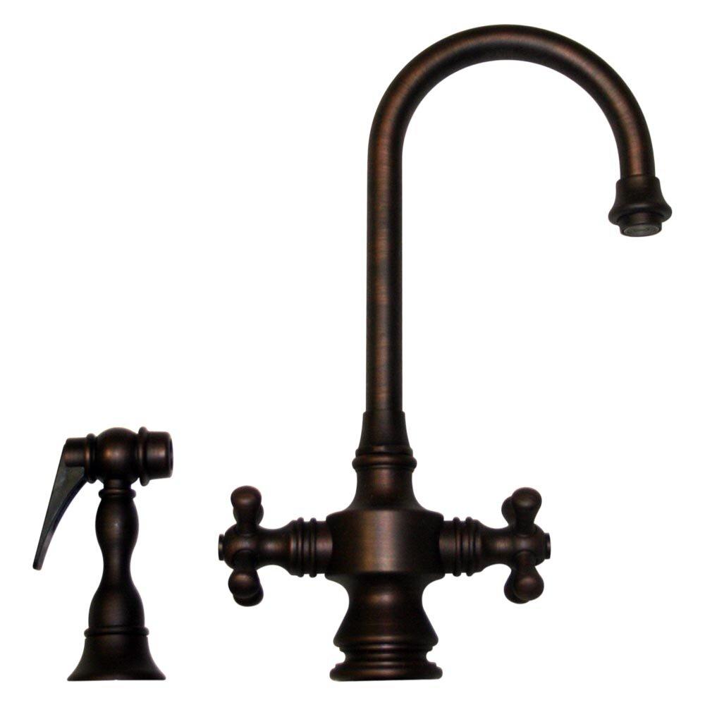 Whitehaus collection vintage iii two handle single hole - Single hole cross handle bathroom faucet ...