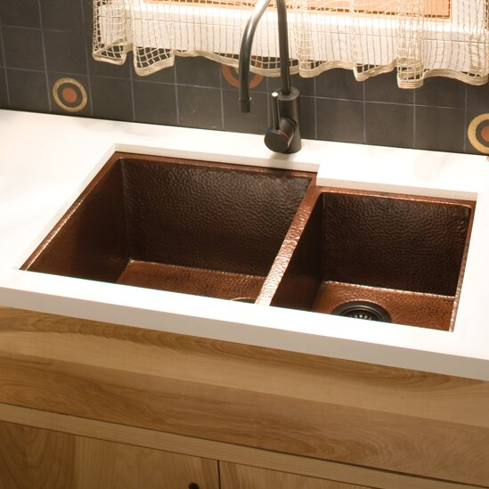 """Cocina 33"""" X 22"""" Duet Copper Kitchen Sink"""