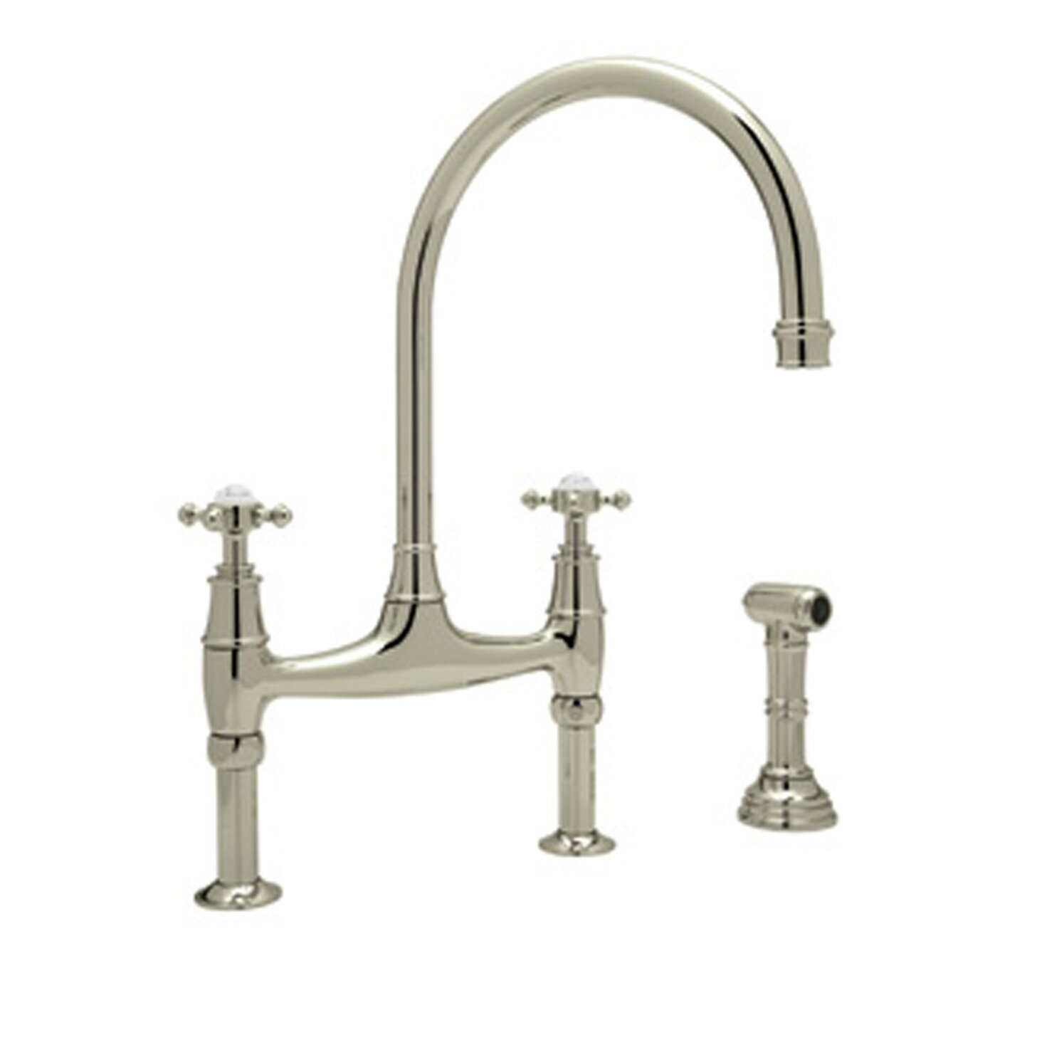 ... Rohl Bridge Faucet With Sidespray By Perrin And Rowe Double Handle Deck  Mount Kitchen Faucet ...