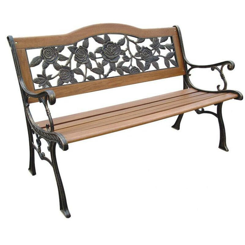 Dc america rose resin wood and cast iron park bench - Wood and iron garden bench ...
