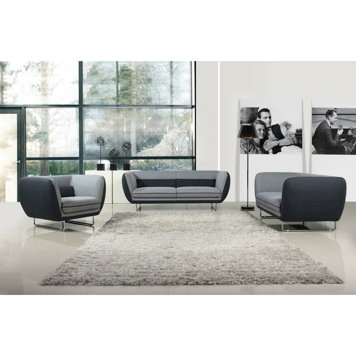 Vig furniture divani casa vietta modern living room set reviews wayfair - Modern living room furniture set ...