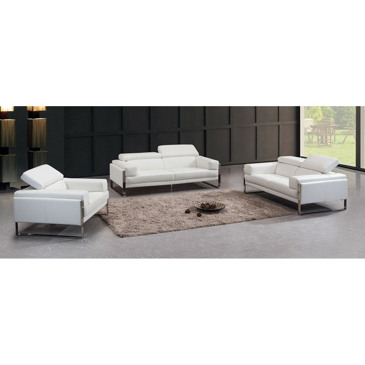 Divani Casa Livorno Leather Sofa Set  Wayfair
