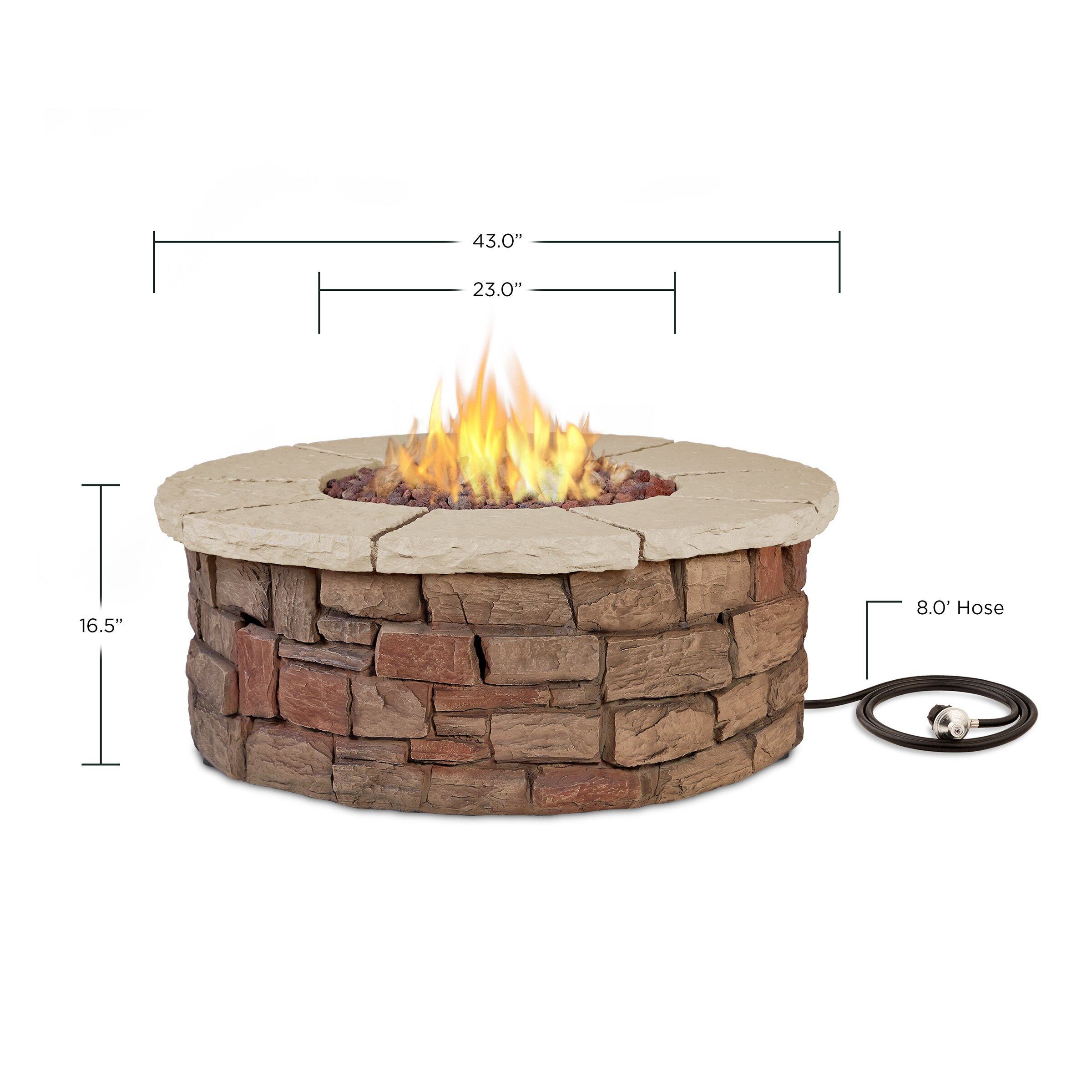 Sedona Fiber Cast Concrete Propane Outdoor Fire Pit Wayfair