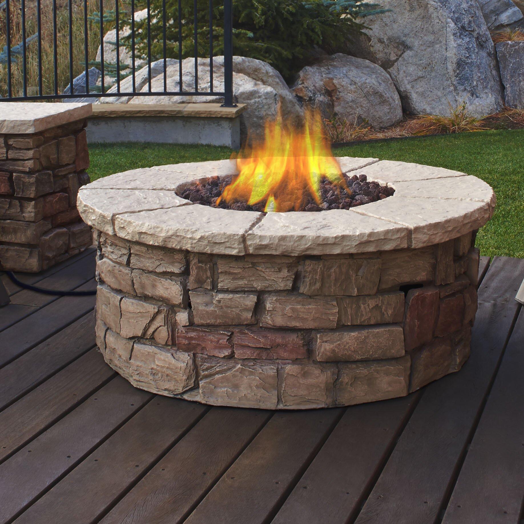 Sedona Fiber Cast Concrete Propane Outdoor Fireplace Wayfair Supply