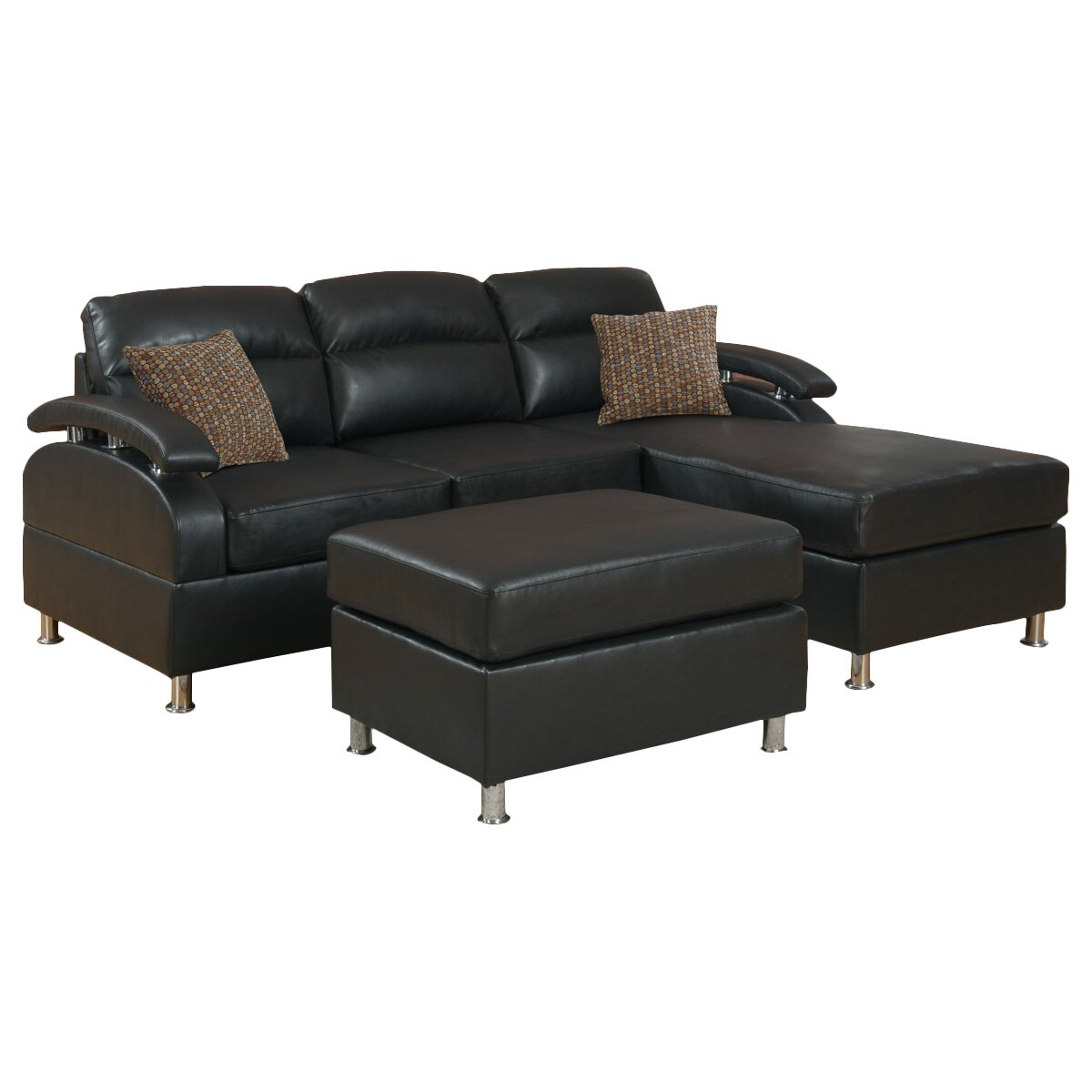 Poundex Bobkona Reversible Chaise Sectional & Reviews ...