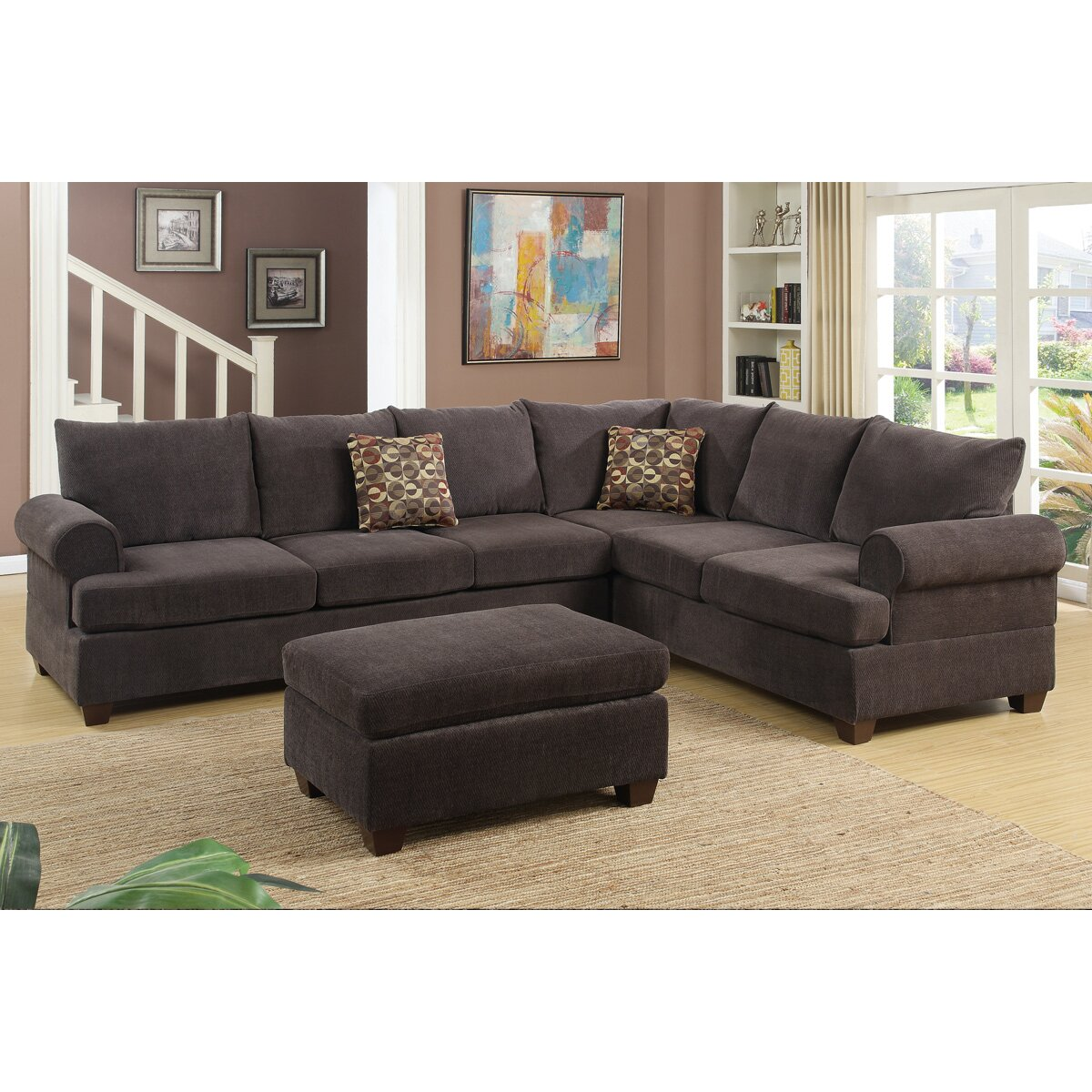 Poundex Bobkona Paxton Reversible Chaise Sectional ...
