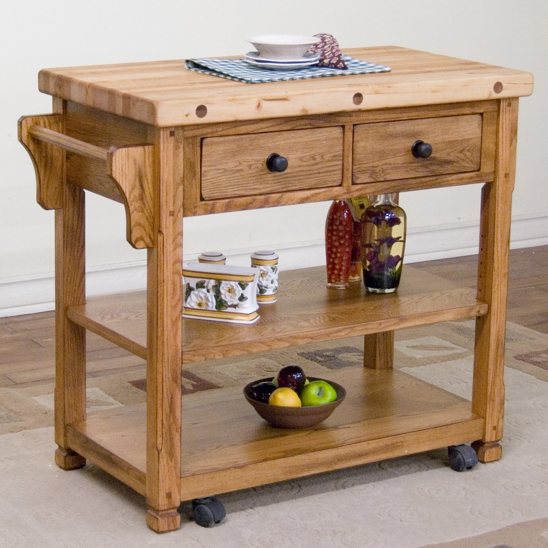 Sunny Designs Sedona Kitchen Island With Butcher Block Top