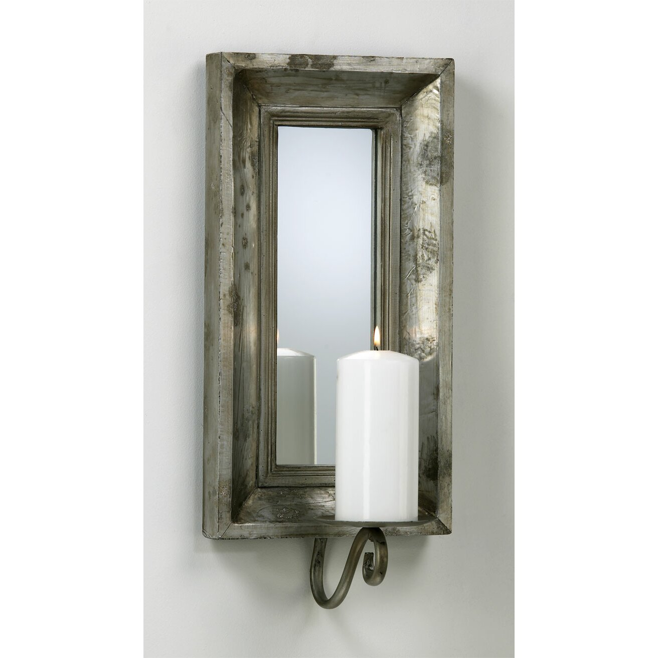 Wall Sconce Candle Mirror : Glass and Wood Abelle Candle Mirror Wall Sconce Wayfair