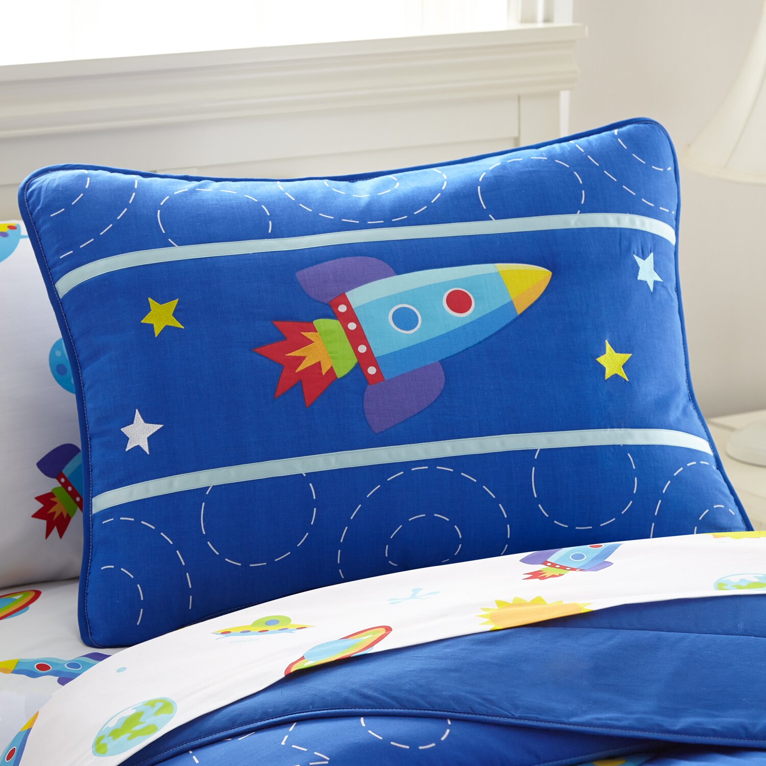 Our NEW Out of This World upgraded children's planets bedding is % cotton percale. Our kids comforter has a galaxy of planets, rocketships and comets against a swirly space background. The reverse is a starfield on blue.