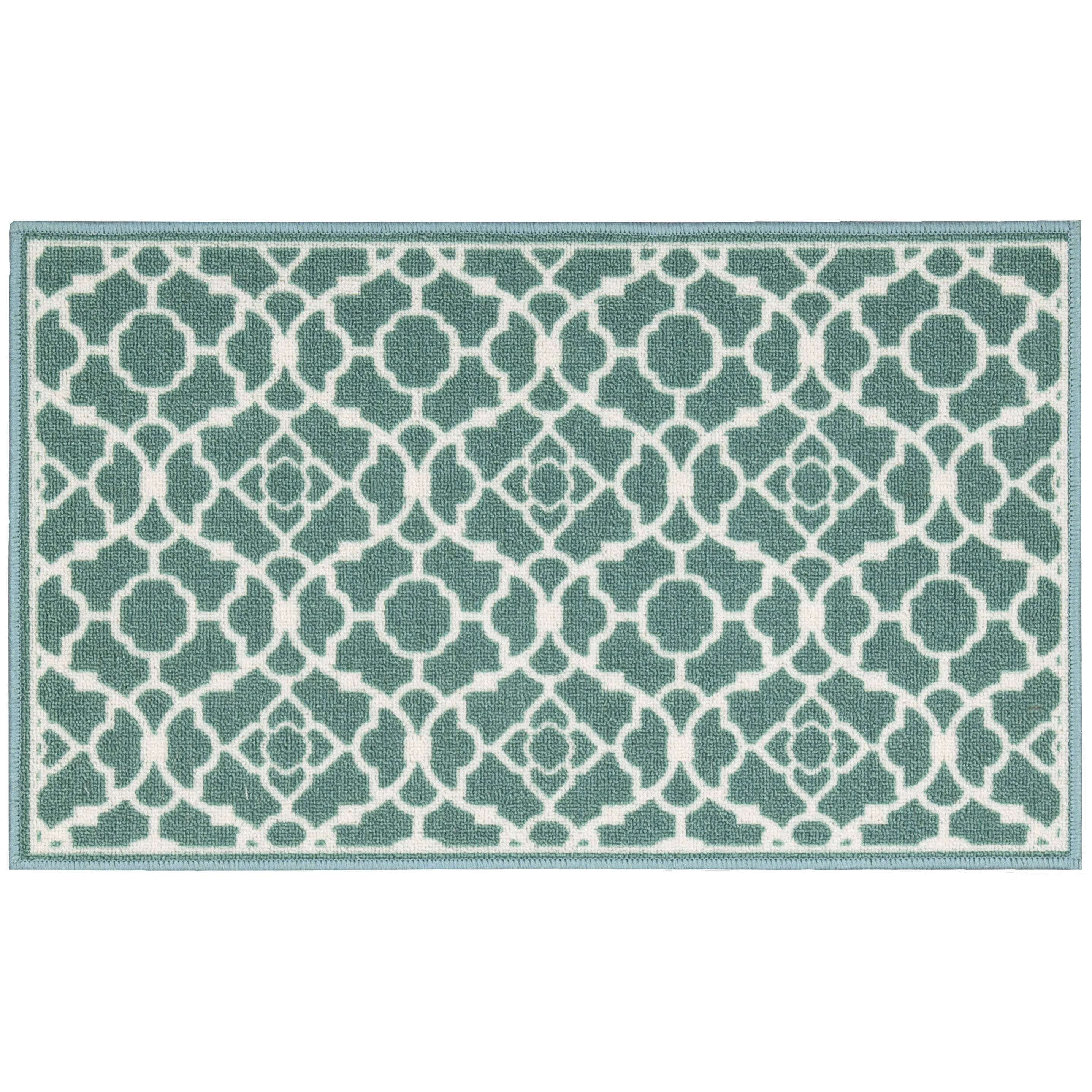 fancy free easy quot lovely lattice quot teal accent rug wayfair