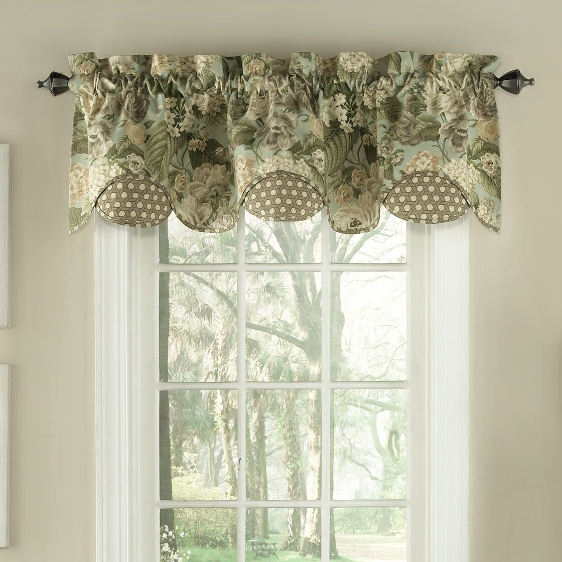 Waverly Garden Glory Scalloped Floral Curtain Valance