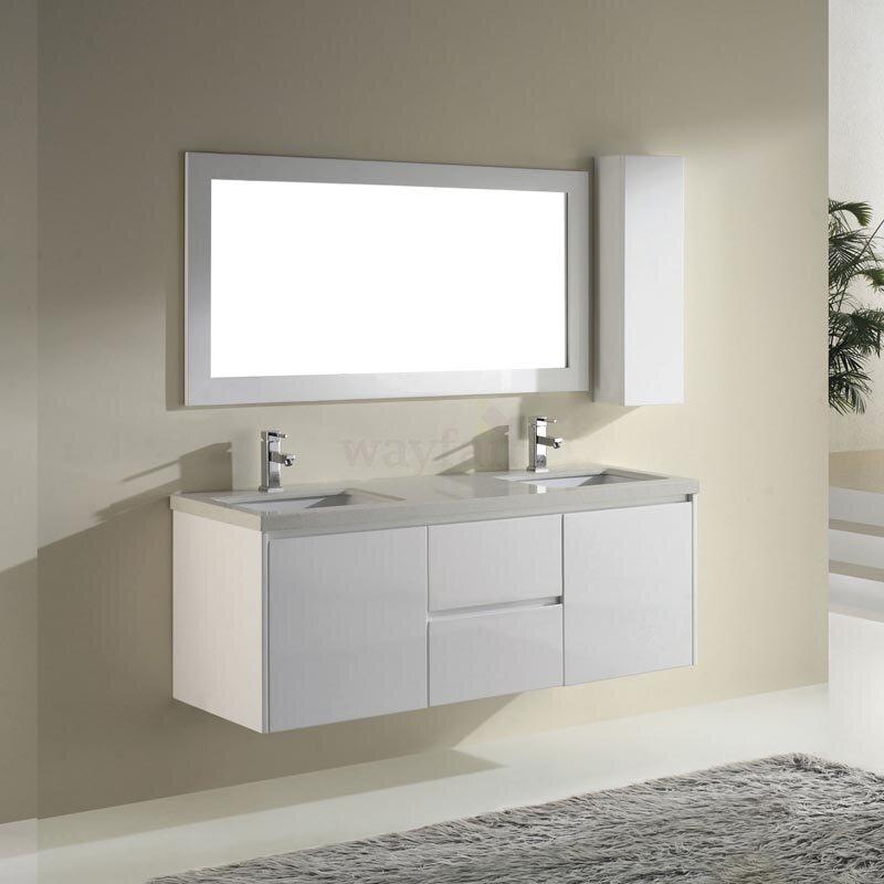 """Barros 63"""" Double Bathroom Vanity Set With Mirror"""