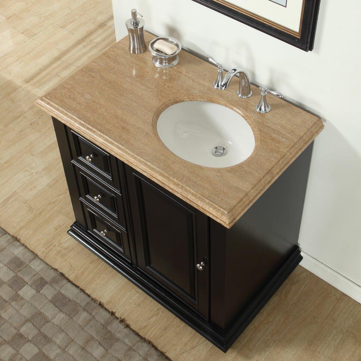 silkroad exclusive 36 single bathroom vanity set with sink on right side reviews wayfair. Black Bedroom Furniture Sets. Home Design Ideas