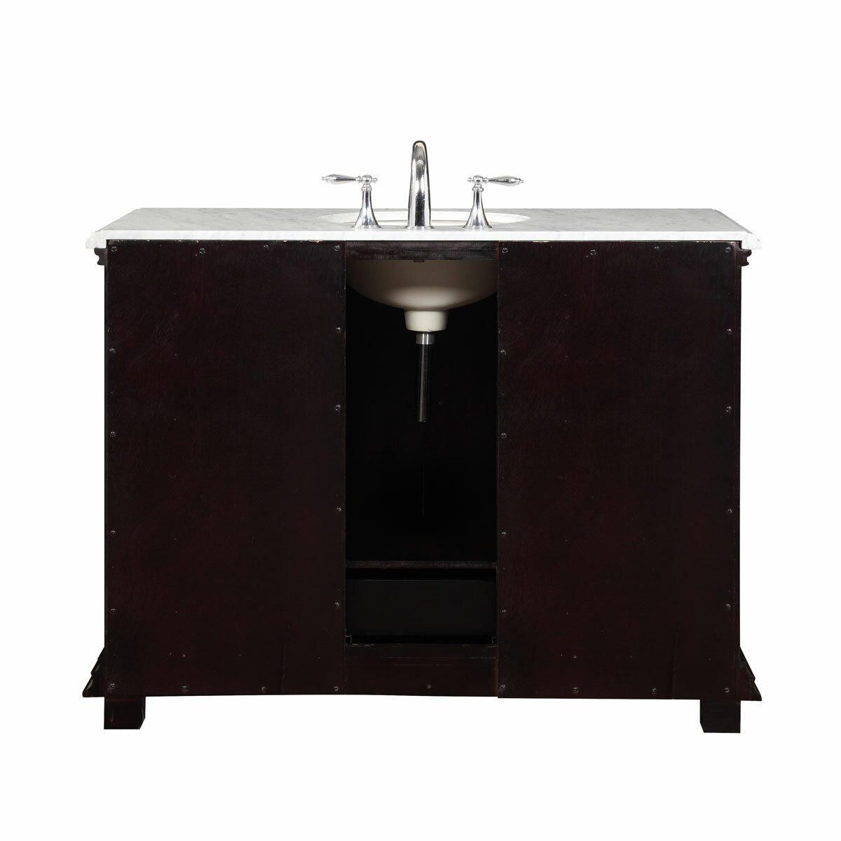 silkroad exclusive 48 single sink bathroom white marble vanity set