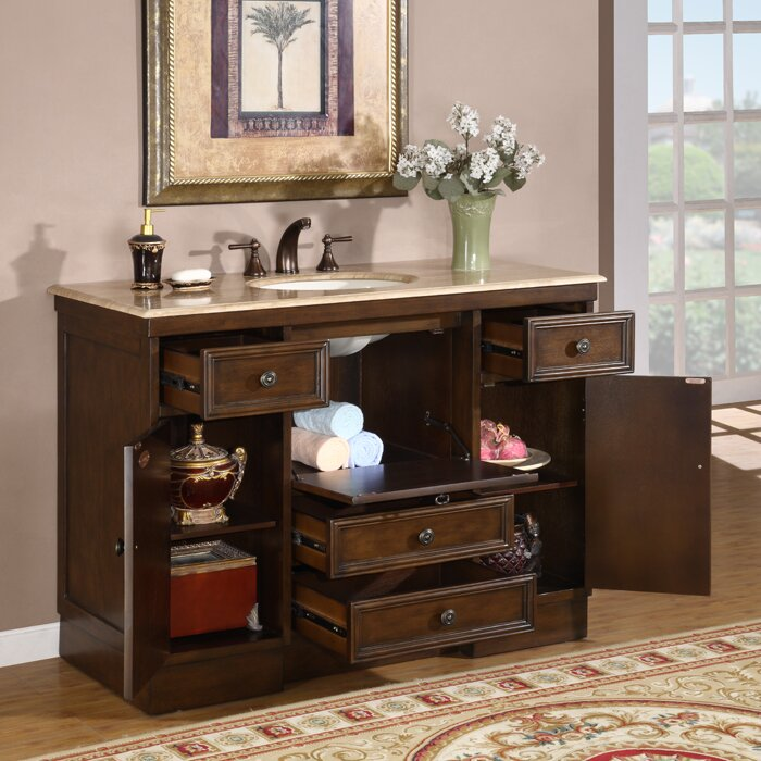 "Silkroad Exclusive Albany 48"" Single Bathroom Vanity Set ..."