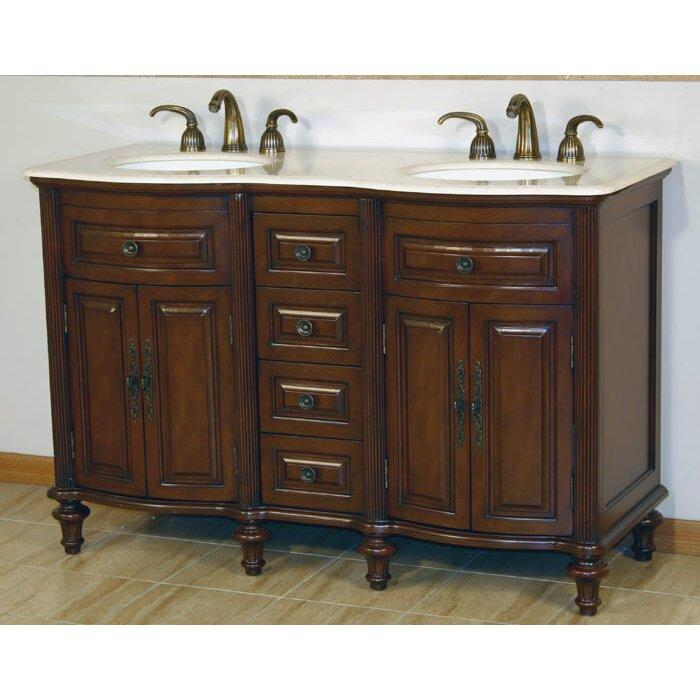 Silkroad Exclusive Cumberland 55 Double Bathroom Vanity Set Reviews Wayfair