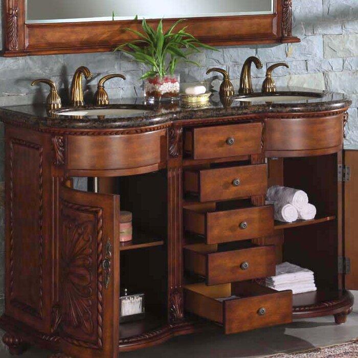 Silkroad Exclusive Alexandra 54 Double Bathroom Vanity Set Reviews Wayfair