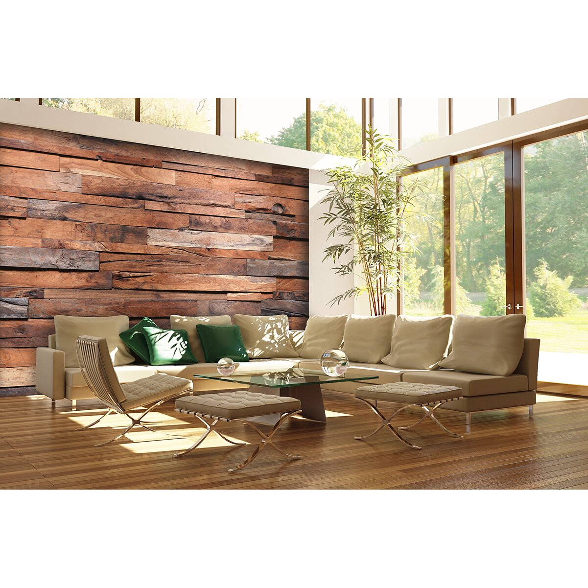 wallpops reclaimed wood adhesive wall mural amp reviews vintage wood mural wooden wallpaper mural stickythings