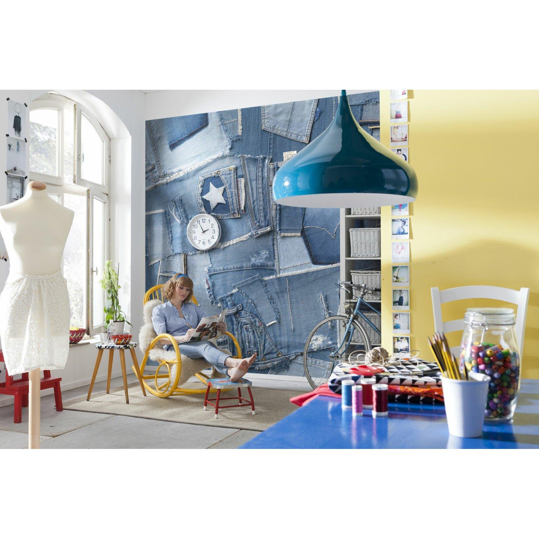 Komar jeans wall mural wayfair for Brewster home fashions wall mural