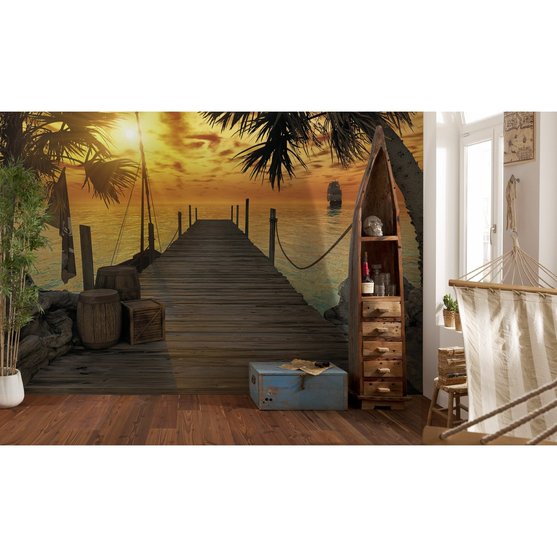 Brewster home fashions komar treasure island dock wall for Brewster birch wall mural