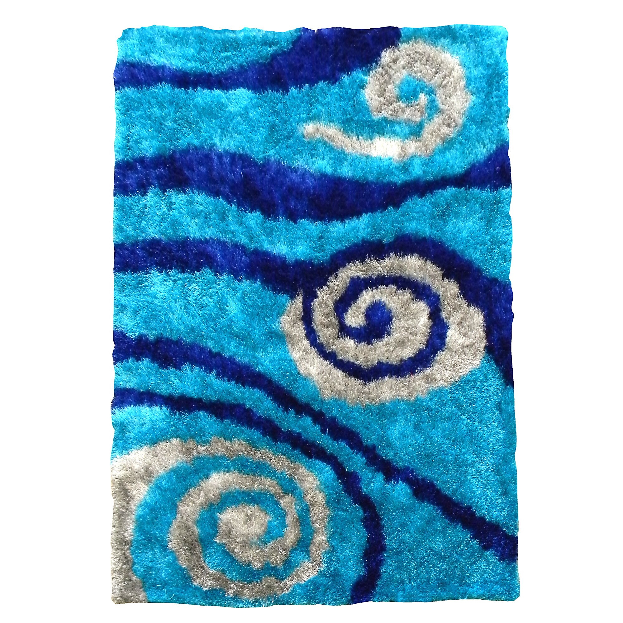Bachelorette Pad Decor Donnieann Company Flash Shaggy Blue Abstract Swirl Area