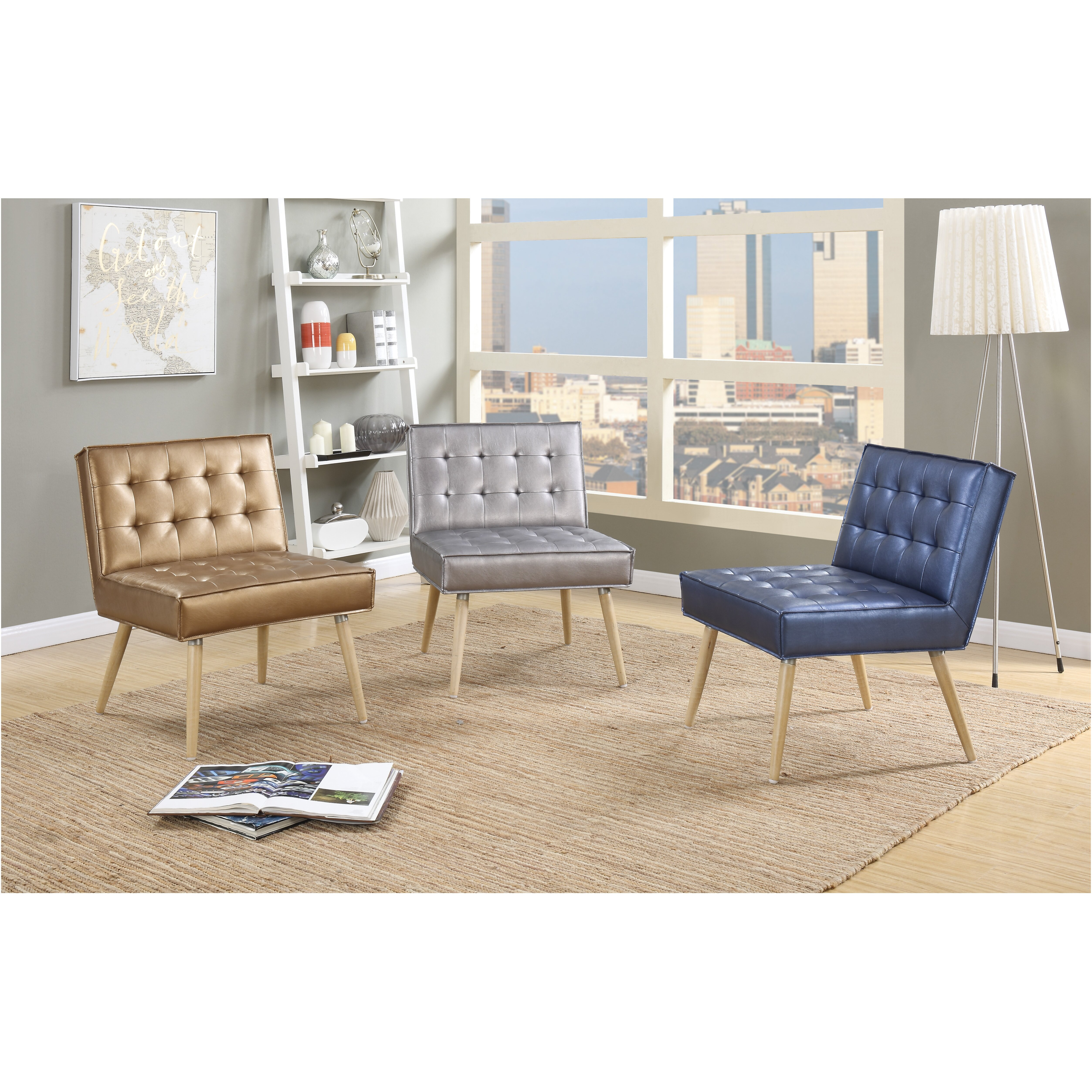 Ave Six Amity Chair Tufted Accent Sizzle Azure Silver: Amity Tufted Side Chair