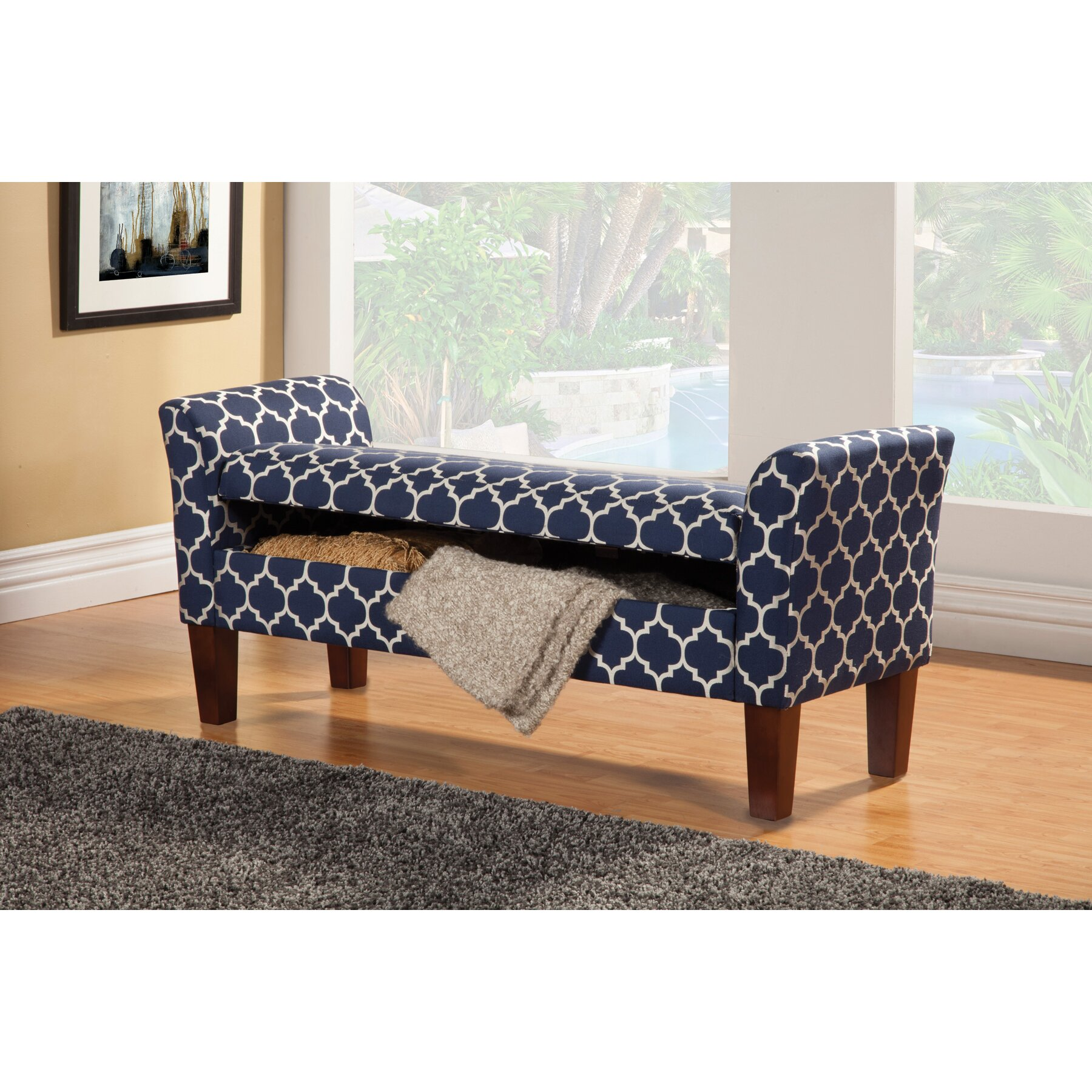 Wildon Home Upholstered Storage Bedroom Bench