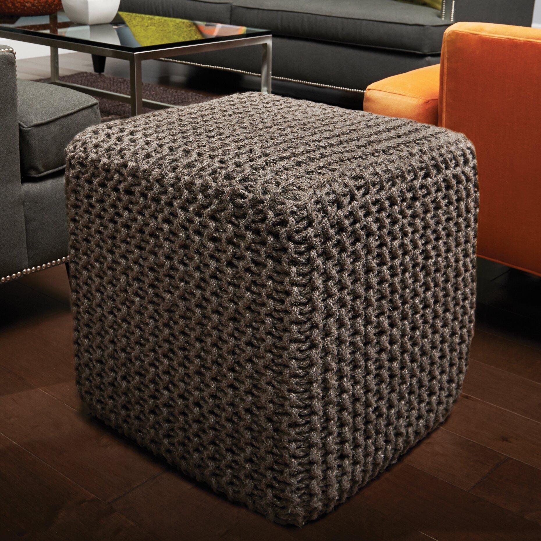 Wildon Home 174 Corded Jute Cube Pouf Ottoman Amp Reviews