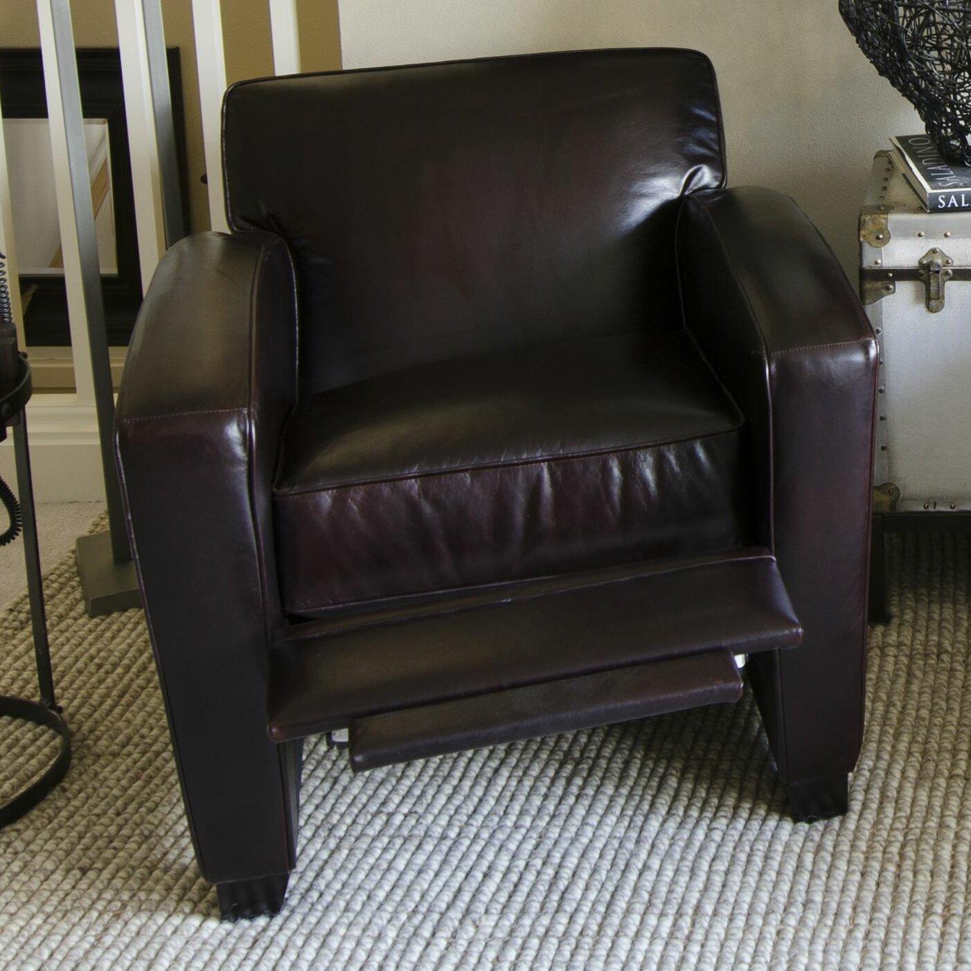 brady top grain leather reclining chair reviews wayfair