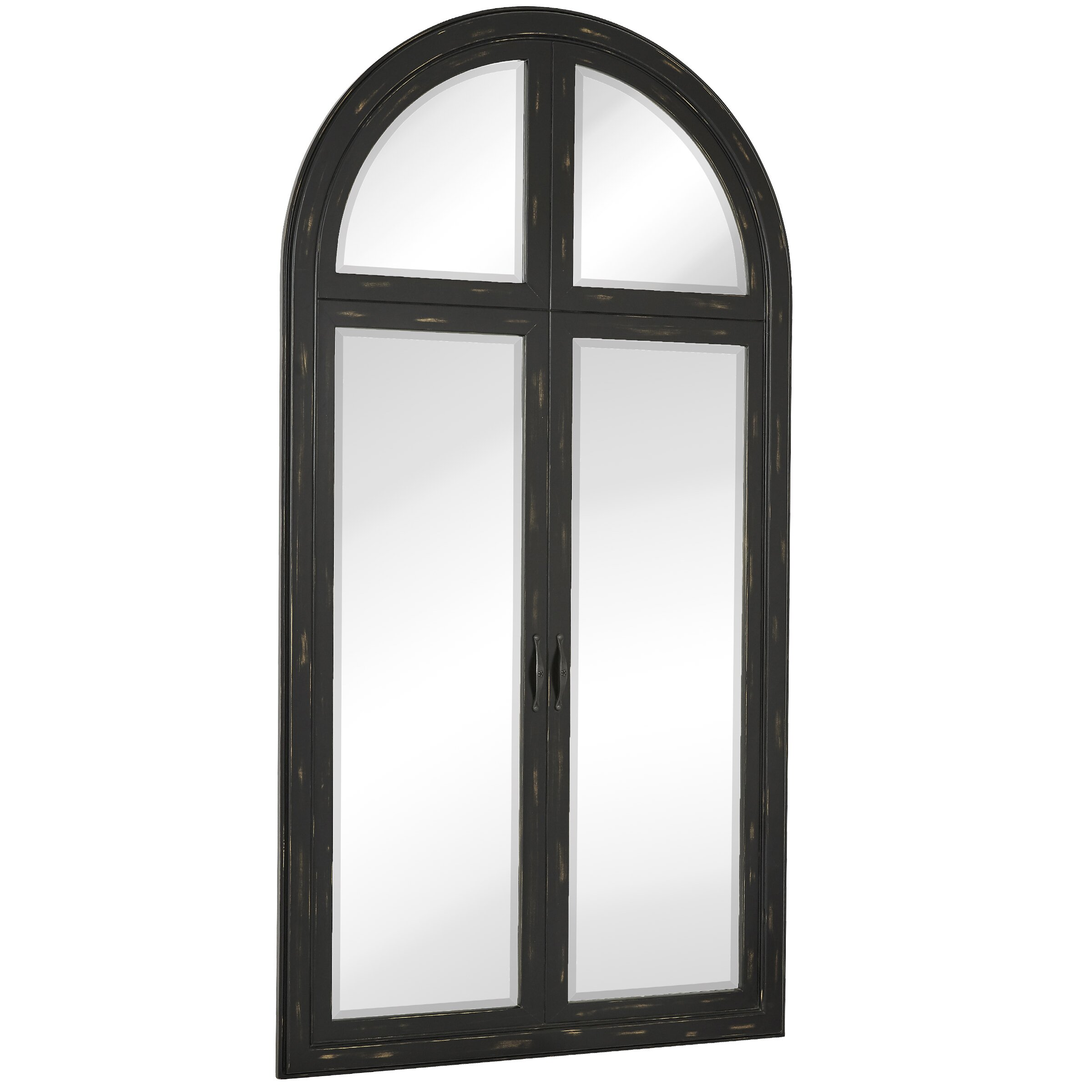 Large Black Beveled Glass Full Length Arched Window Pane