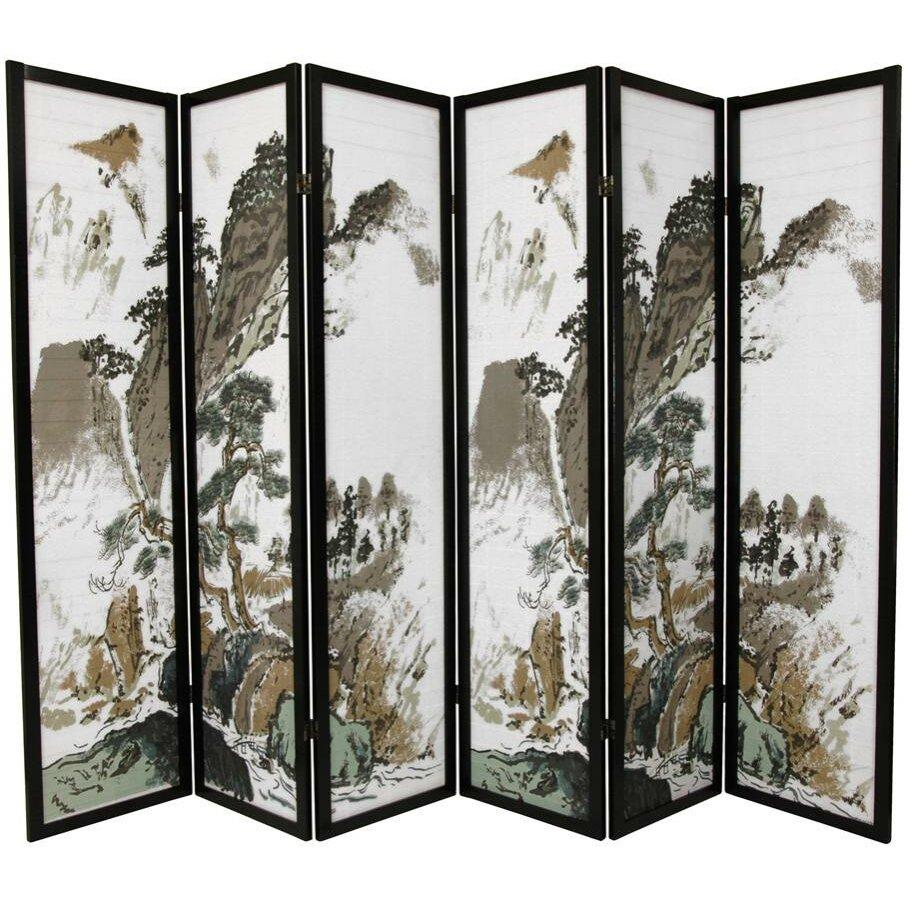 72 x 84 asian landscape 6 panel room divider wayfair for Lawn divider