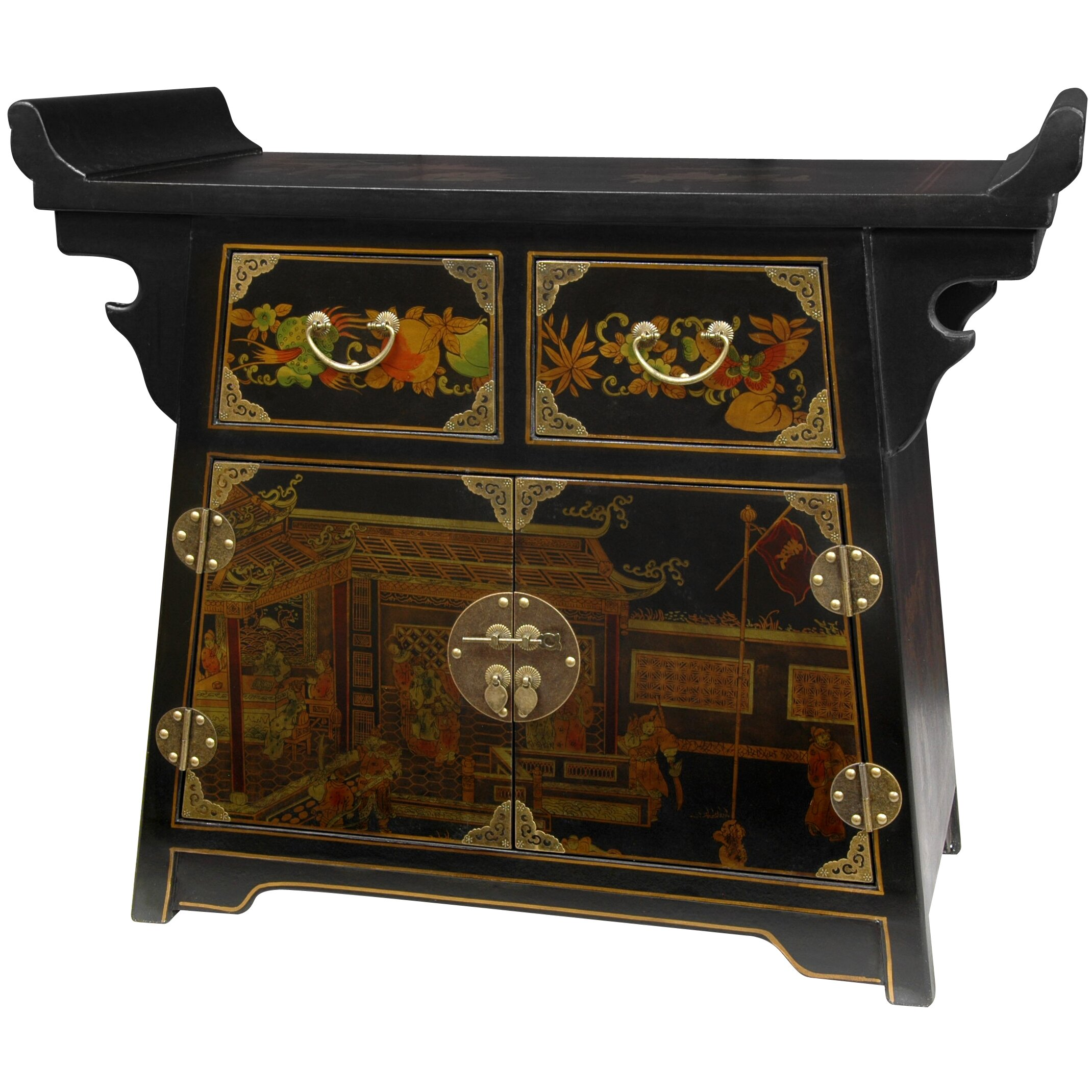 Lacquer Village Life Altar Cabinet by Oriental Furniture